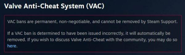 Permanente VAC bans i counter strike